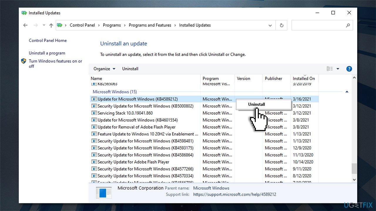 Uninstall the latest Windows update
