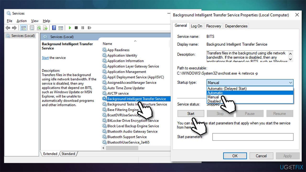 Start Windows update and BITS service