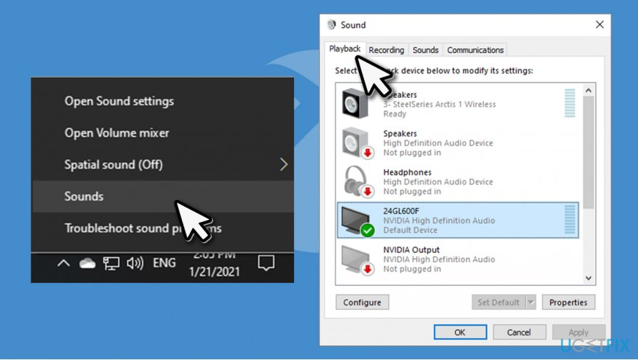 Access sound settings