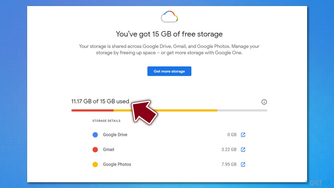 Check your Google storage space