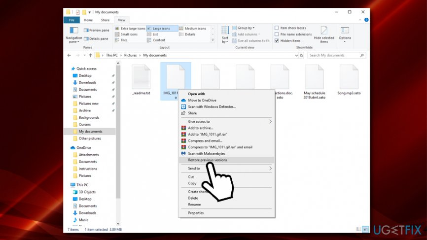 Windows Previous Versions feature