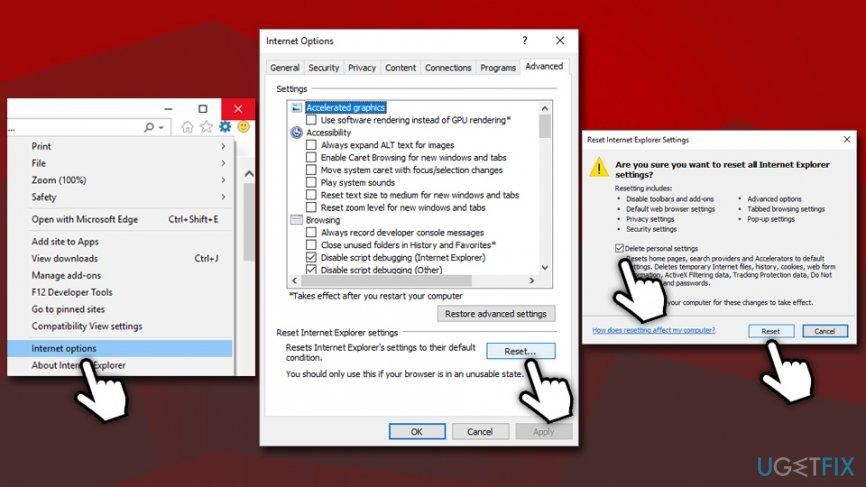 Reset Internet Explorer