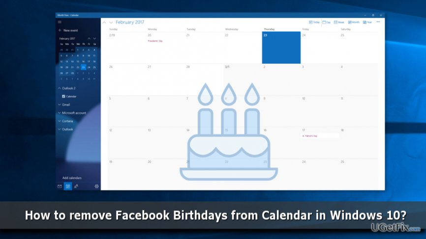 Remove Facebook Birthdays from Calendar in Windows 10