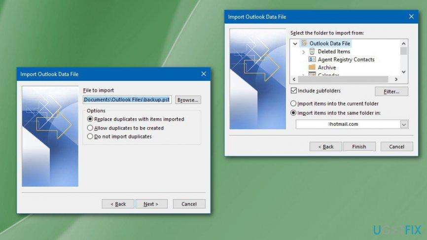 Creating separate bak file
