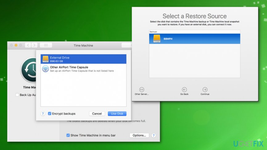 Choosing backup and restore drive