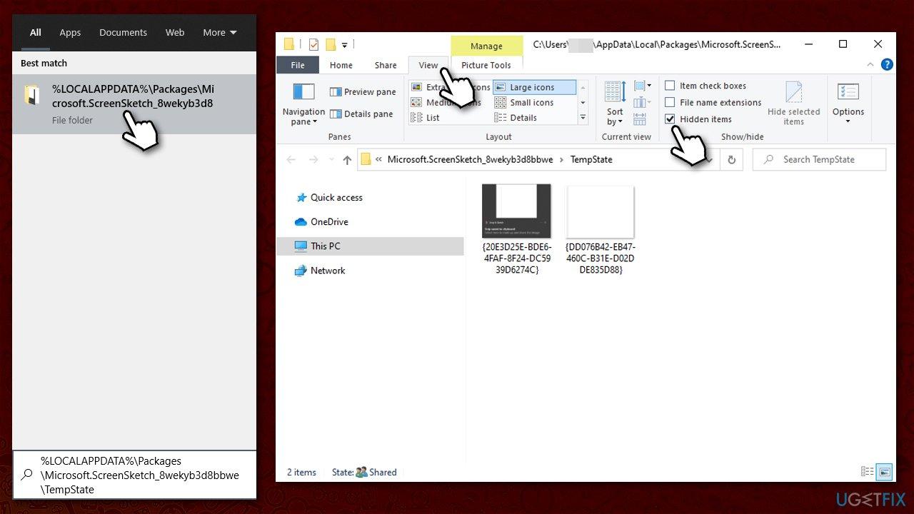 View saved screenshots in AppData folder