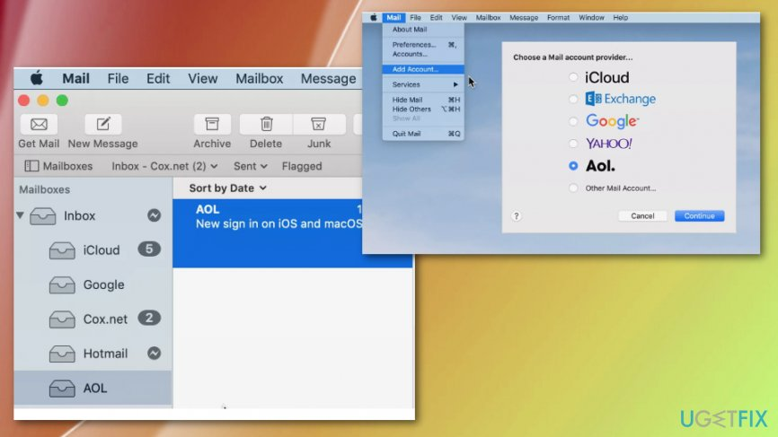 Set up AOL email on Mac