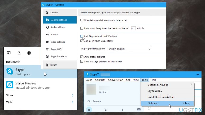 Change Skype settings