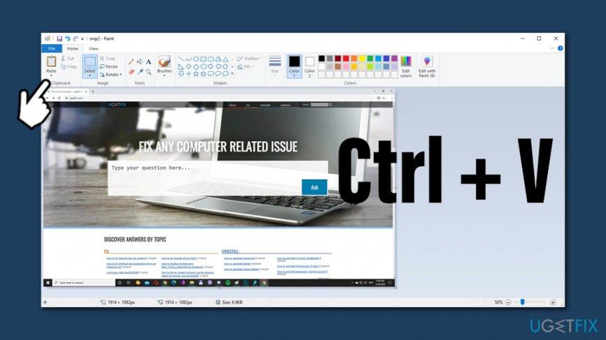 Copy screenshot to Paint