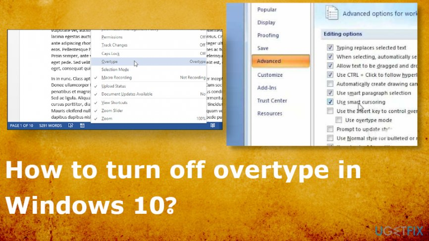 How to turn off overtype in Windows 10