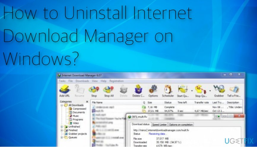Internet Download Manager on Windows uninstalling process