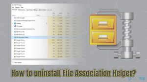 How to uninstall File Association Helper on Windows OS?