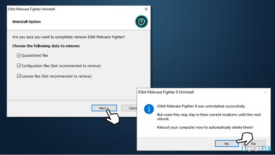 Reboot the PC to finish IObit Malware Fighter uninstall