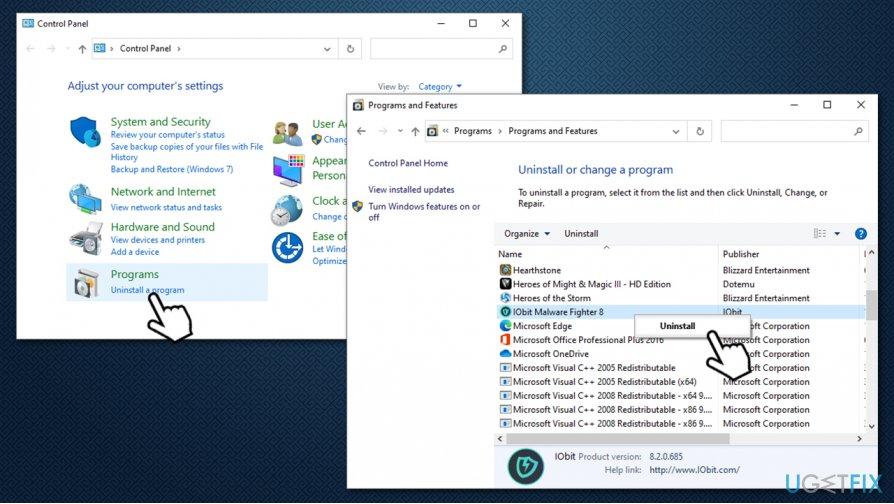 Uninstall IObit Malware Fighter via Control Panel