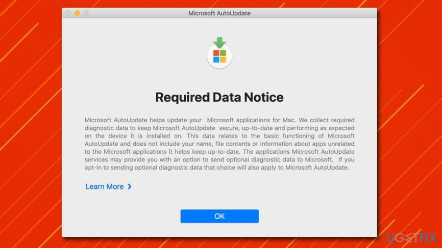 Microsoft AutoUpdate Data notice