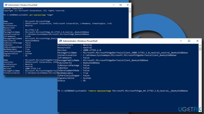 Use Powershell to uninstall MS Edge browser