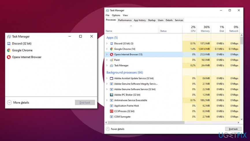 Uninstall Opera Stable via task manager