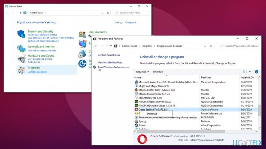 Uninstall Opera Stable via Control Panel