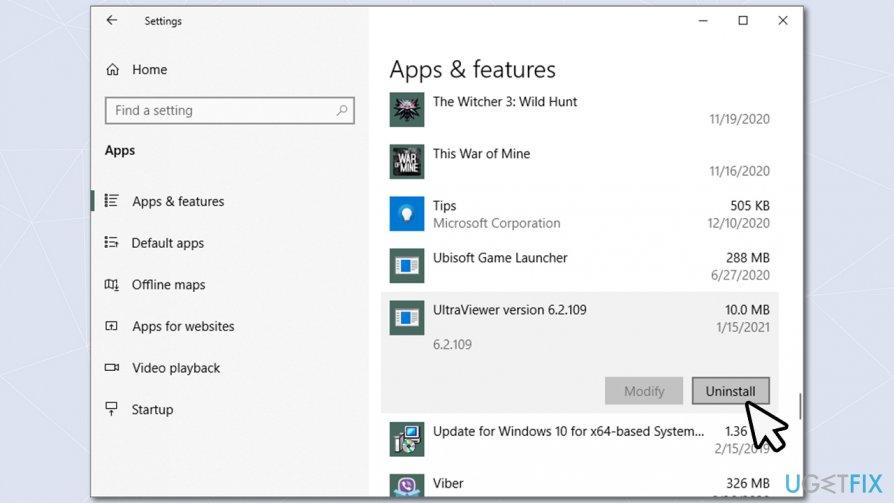 Uninstall UltraViewer via Apps 2