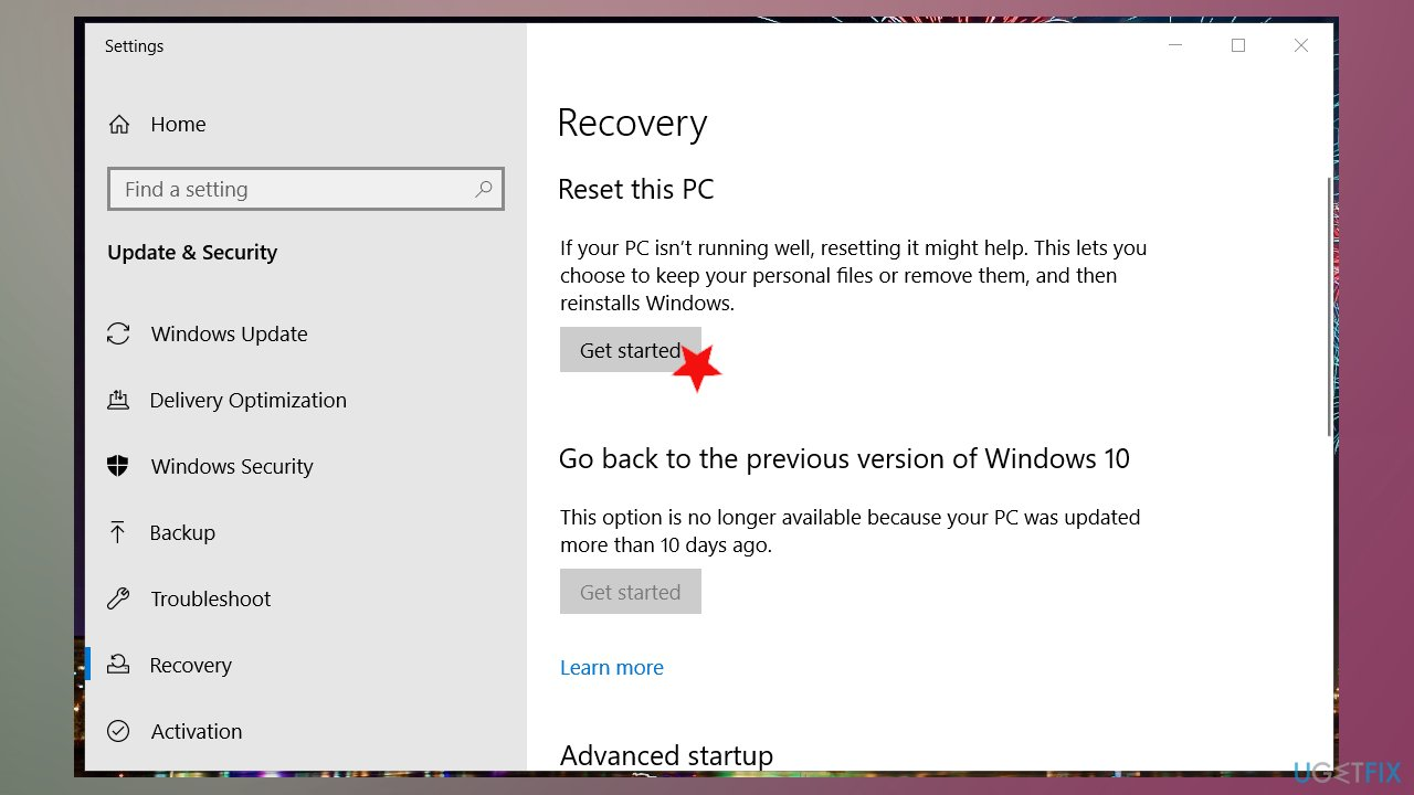 Get Started with PC reset