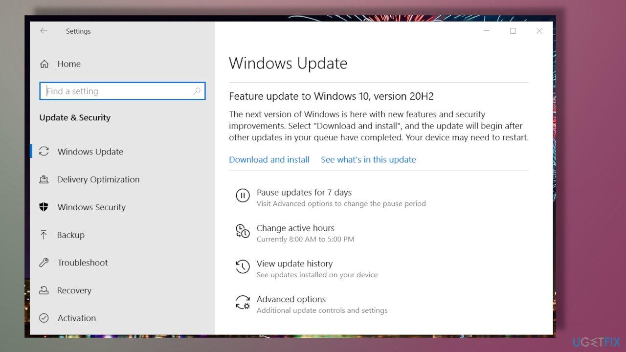 Windows update info