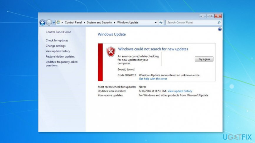 Image of Fix Windows 7 Update Error 80248015