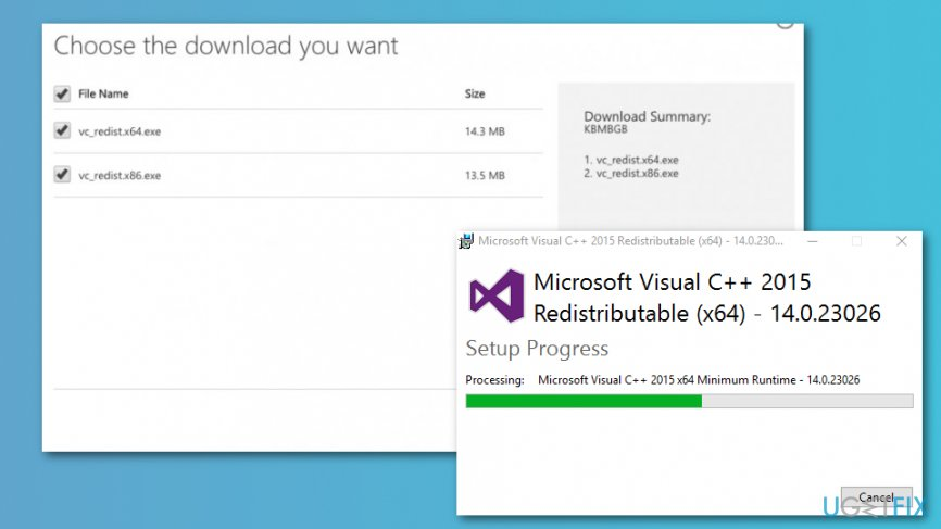 Install the latest Microsoft Visual C ++ Redistributable Package