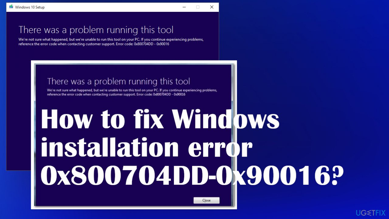 Windows installation error 0x800704DD-0x90016