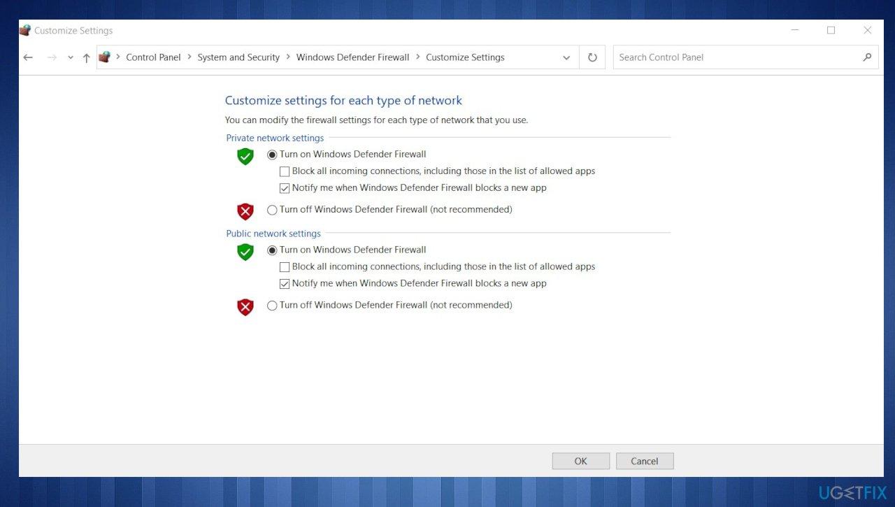 Firewall settings
