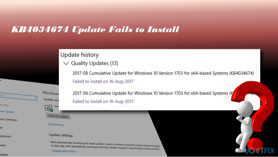 showing KB4034674 update failure in Windows Update history