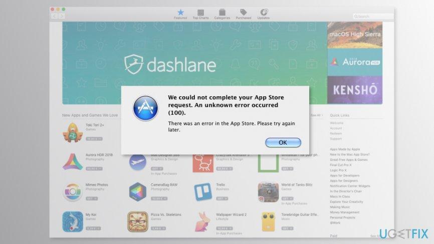 Mac App Store Error 100?