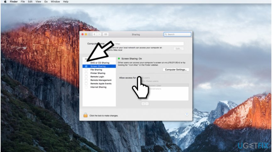 Mac screen sharing example