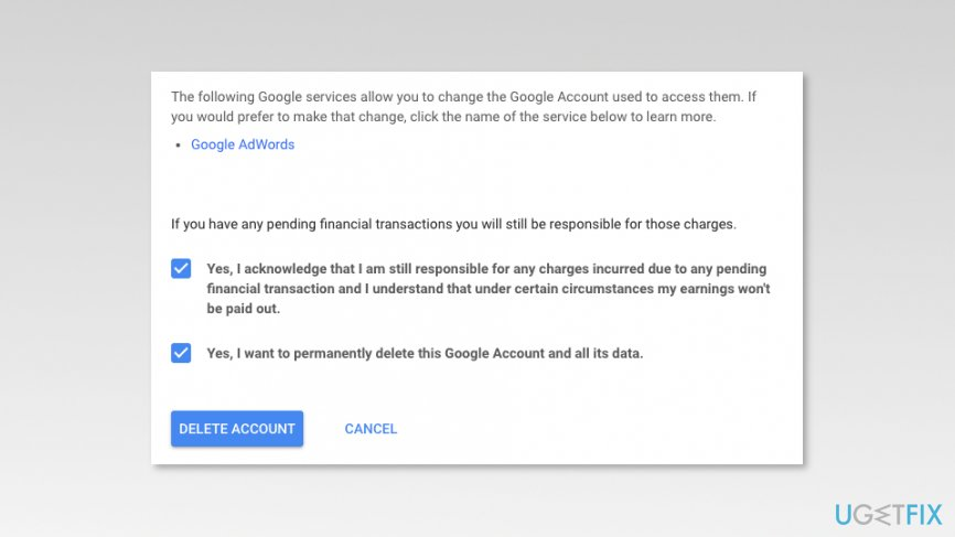 Mark checkboxes to delete Google account