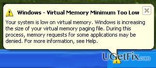 'Virtual Memory Too Low' error snapshot
