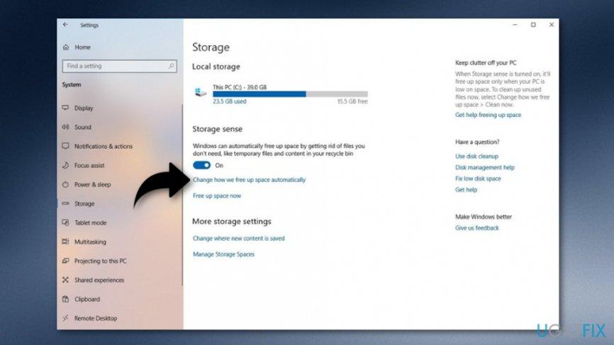 Use Storage sense to eliminate Windows.old Folder