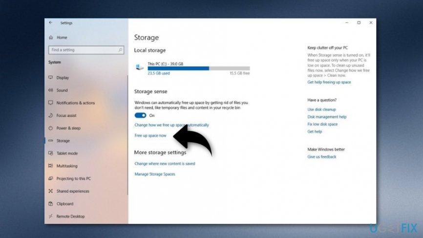 Delete Windows.old Folder via Temporary files option