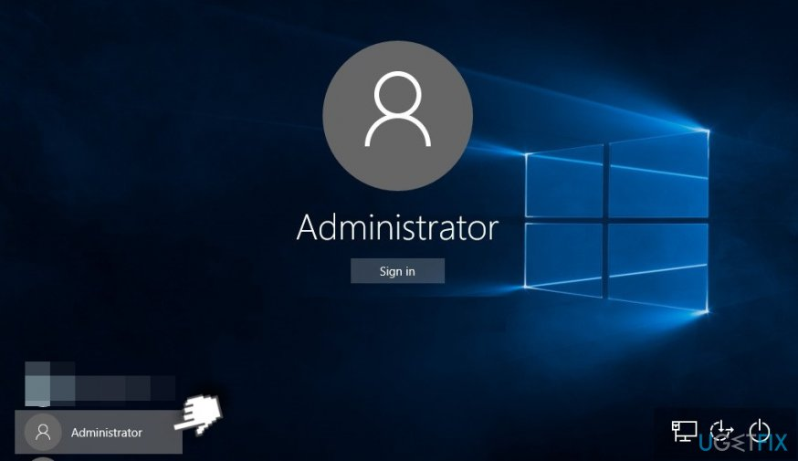 Administrator account in the screen