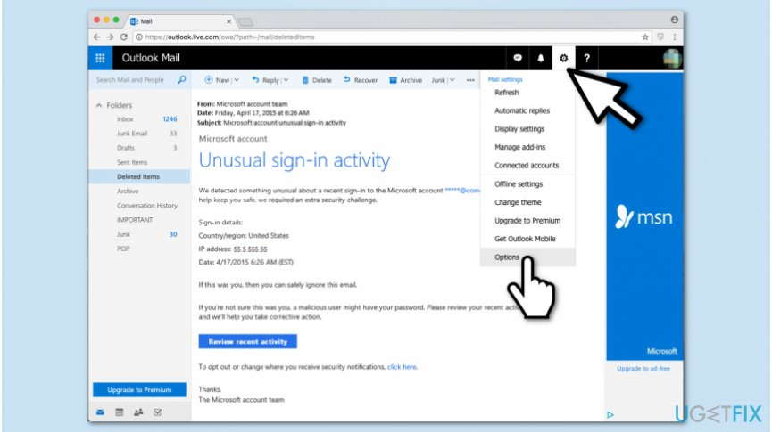 """Microsoft account unusual sign-in activity"" removal procedure"