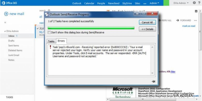 How to Fix Microsoft Outlook Error 0x800CCC92?