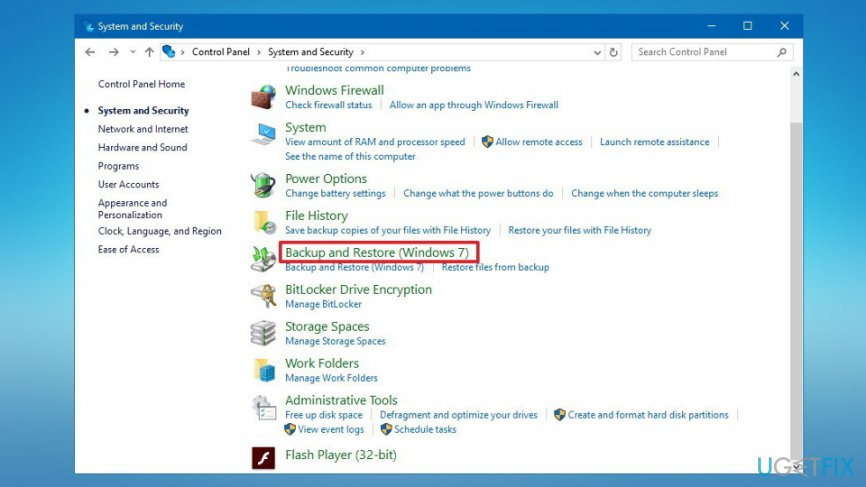 Microsoft Security Essentials create backup
