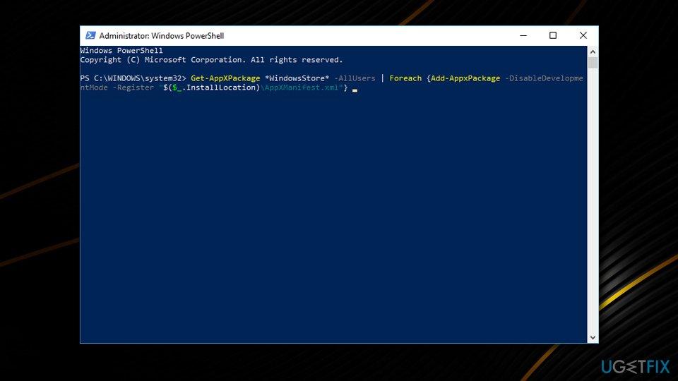 0x00000194 error - reinstall Microsoft Store