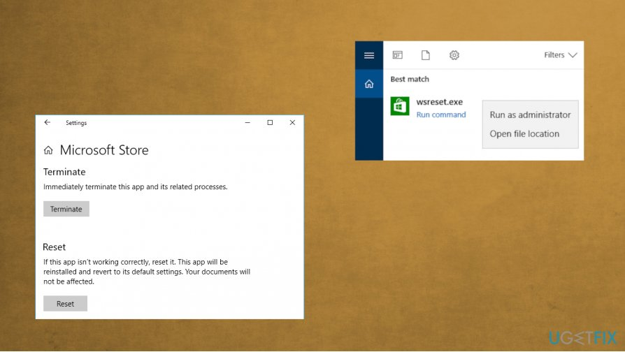 Windows Store reset