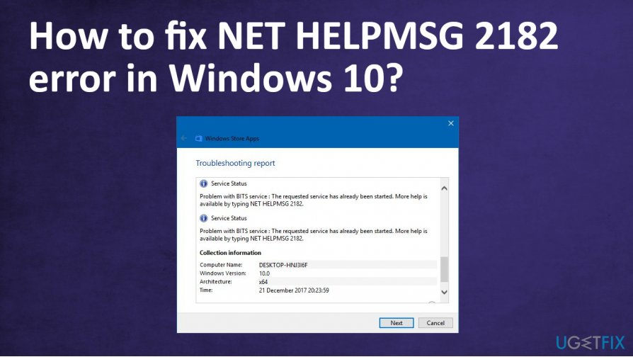 NET HELPMSG 2182 error