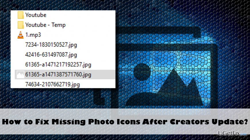 a printscreen of missing photos icon