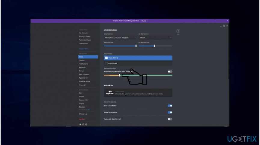 Modify Discord sound settings to fix not working mic