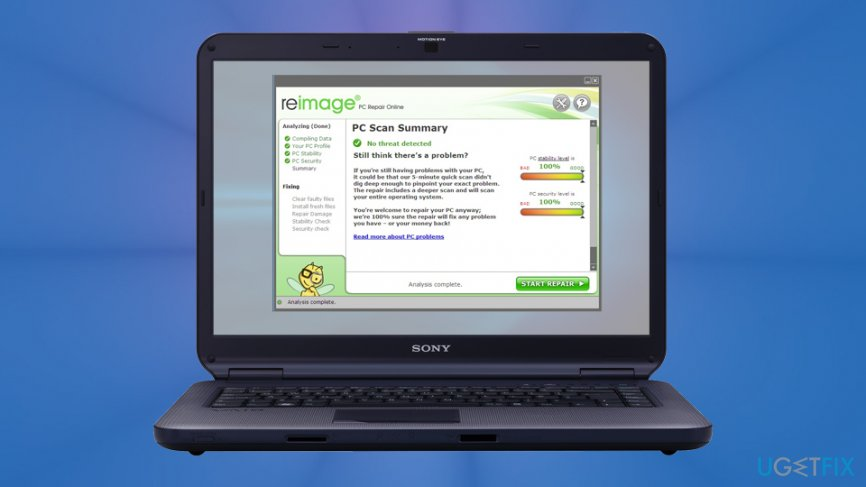 Scan your PC with Reimage or other security software