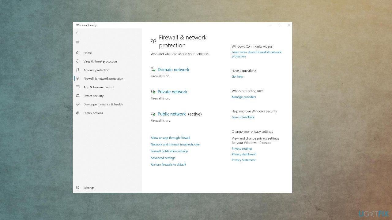 Firewall settings on win 10