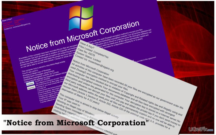 """Notice From Microsoft Corporation"" screenshot"