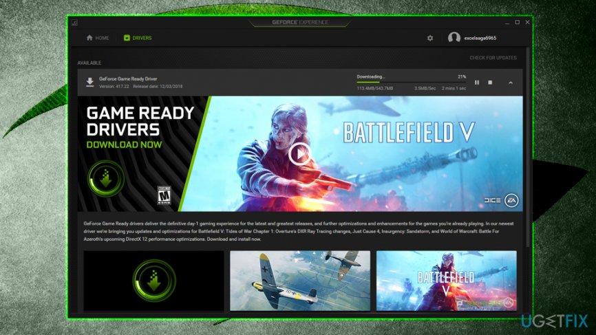 Update Nvidia drivers via GeForce Experience