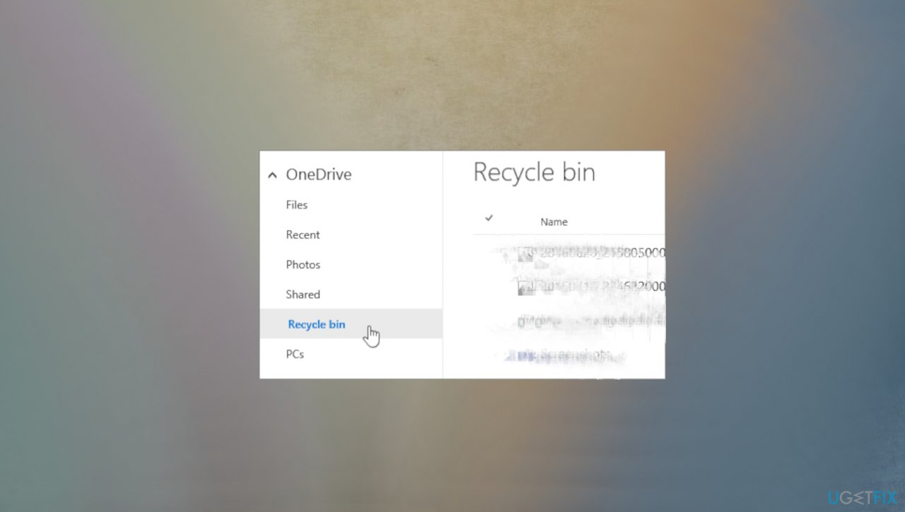 Recyle Bin on the website